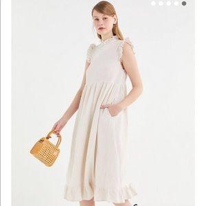 UO Gabby Cream Ruffled Midi Dress XS